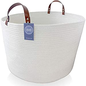 Bijoux Basics XXL Round Woven Cotton Rope Basket with Leather Handles: Large Basket for Nursery/Laundry/Towel/Diaper/Kids Toy Storage/Organizer for Baby Boys or Girls Room; 19.7″ x 19.7″ x 13″