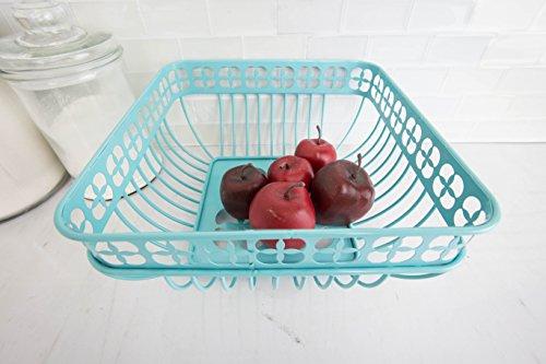 Home Basics Trinity Fruit Basket Square, Turquoise by Home Basics (Image #2)