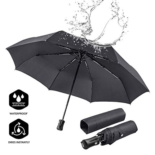 BOY Travel Umbrella Compact Umbrella Automatic Folding, Auto Open Close, Windproof Reinforced Frame (Black)