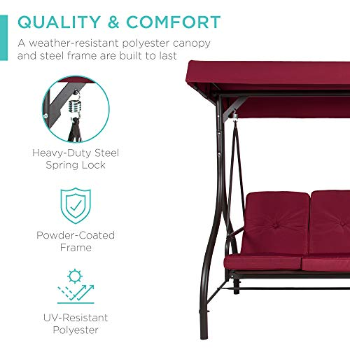 Best Choice Products 3-Seat Outdoor Large Converting Canopy Swing Glider, Patio Hammock Lounge Chair for Porch, Backyard w/Flatbed, Adjustable Shade, Removable Cushions - Burgundy
