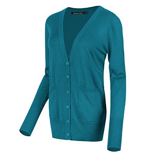 Juniors Peacock - Urban CoCo Women's Long Sleeve Button Down Basic Cardigan Sweater (L, Peacock Blue)