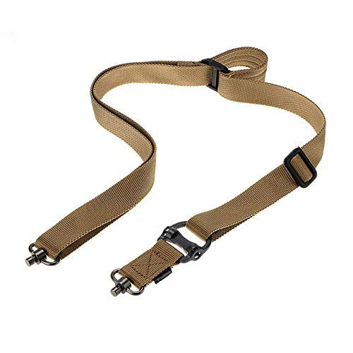 DMAIP Tactical Hunting Gun Sling Adjustable Bungee Rifle Sling Strap System for Airsoft Hunting Military QD Swivel Dual Gun Sling