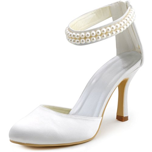 ElegantPark AJ3065 Women Closed Toe High Heel Pumps Pearls Ankle Strap Satin Wedding Shoes White US 8
