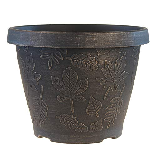FANTASTIC :) 9.5-INCH Antique Brunsh Shape Finish Decorative Plastic Planters Thin Flower Pots (1-Pack, Leaf-Brushed Gold)