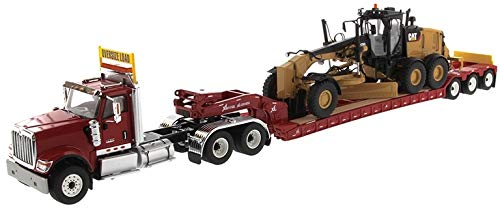 International HX520 Tandem Tractor Red with XL 120 Lowboy Trailer and CAT Caterpillar 12M3 Motor Grader Set of 2 Pieces 1/50 Diecast Models by Diecast Masters 85598