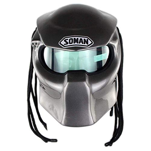 DYM258 Jagged Warrior Predator Motorcycle Helmet Full Face Front Flip Open Helmets Harley Retro Scorpion Mask Cross-Country Fringed Braids Helmet LED Light,Silver,XL61~62CM