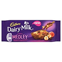 Cadbury Dairy Medley Milk Dark Chocolate, Caramelised Hazelnuts & Raspberry 93g
