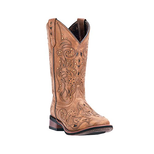 Laredo Women's Janie Western Boot Square Toe Tan 8 M US (Womens Square Toe Boot)