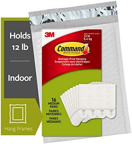Command Picture Hanging Strips Medium White 16-Pairs