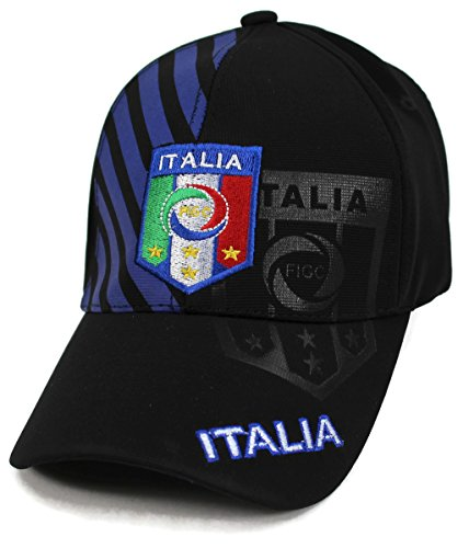 World Soccer Football Cap Hat - High End Hats World Soccer/Football Team Hat Collection Baseball Cap Flexfit Hat, Italia with FIGC Logo, Blue