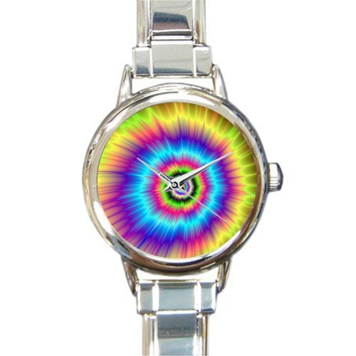 Personalized Christmas Gift Watch Colorful Tie Dye Round Italian Charm stainless steel Watch