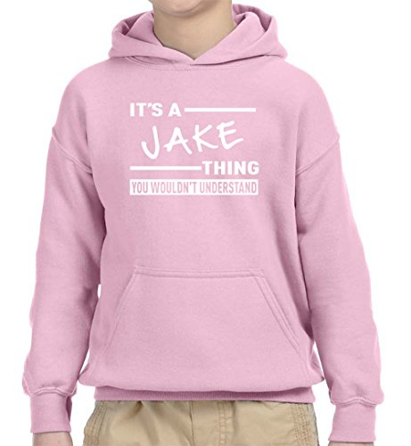 New Way 776 - Youth Hoodie It's A Jake Thing You Wouldn't Understand Unisex Pullover Sweatshirt Medium Light Pink