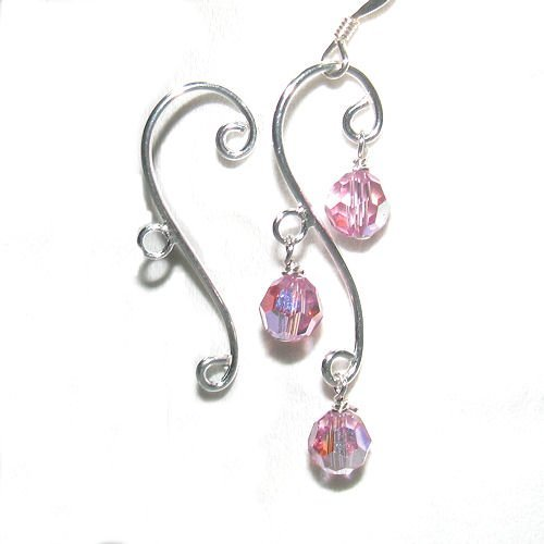 4 pcs / 2 pairs .925 Sterling Silver Leaf Chandelier Dangle Earring Connector With Ring /Findings / ()