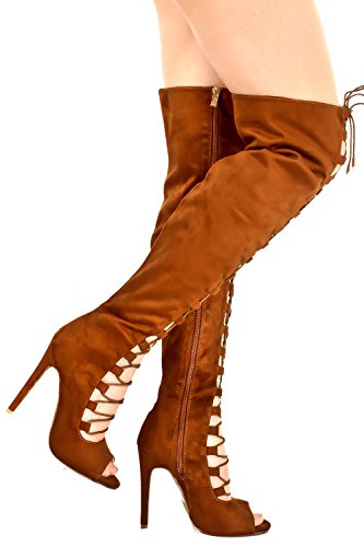 METTLE SUEDE SIDE ZIPPER LACE UP OPEN TOE OVER THE KNEE HIGH HEEL BOOTS Camelsuede GN37xf2A