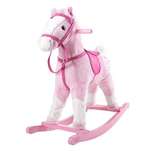 Rocking Horse Plush Animal on Wooden Rockers with Sounds, Saddle & Reins, Ride on Toy, Toddlers to 4 Years Old by Happy Trails - Pink (Sound Plush Horse Rocking With)