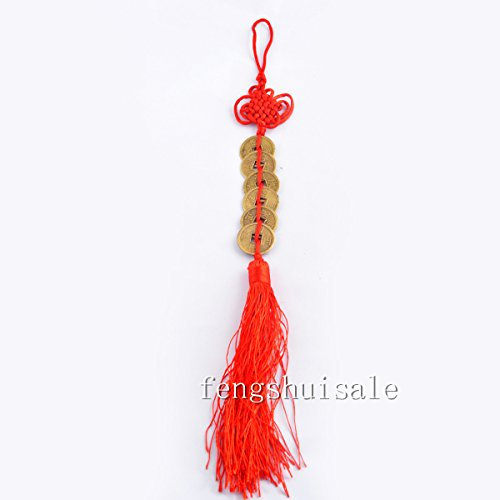 Fengshui Six Chinese Emperors Coins Charm+ Free Red String Bracelet Y1243