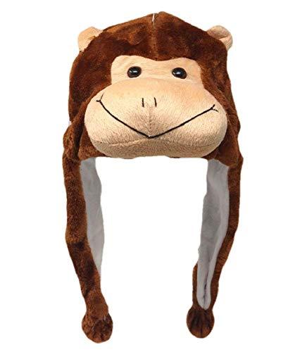 Plush Fun Animal Beanie Hat - One Size (Older Kids & Adults) - Polyester w/Fleece Lining - Monkey Hat Adult