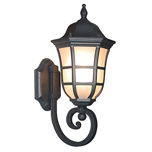ETOPLIGHTING Le noir Collection Matt Black Finish Exterior Outdoor Lantern Light with Frost Bubbled Glass, Wall APL1113