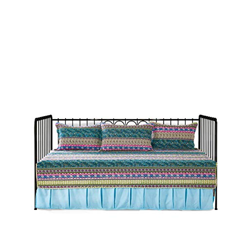 Striped Jacquard Style 5-Piece Patchwork Quilted Daybed Cover Set,100% ()