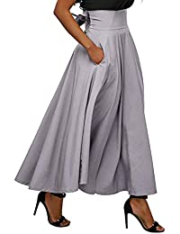 Women's Casual Flowy Dress High Waist Pleated Midi Skirt with Pockets