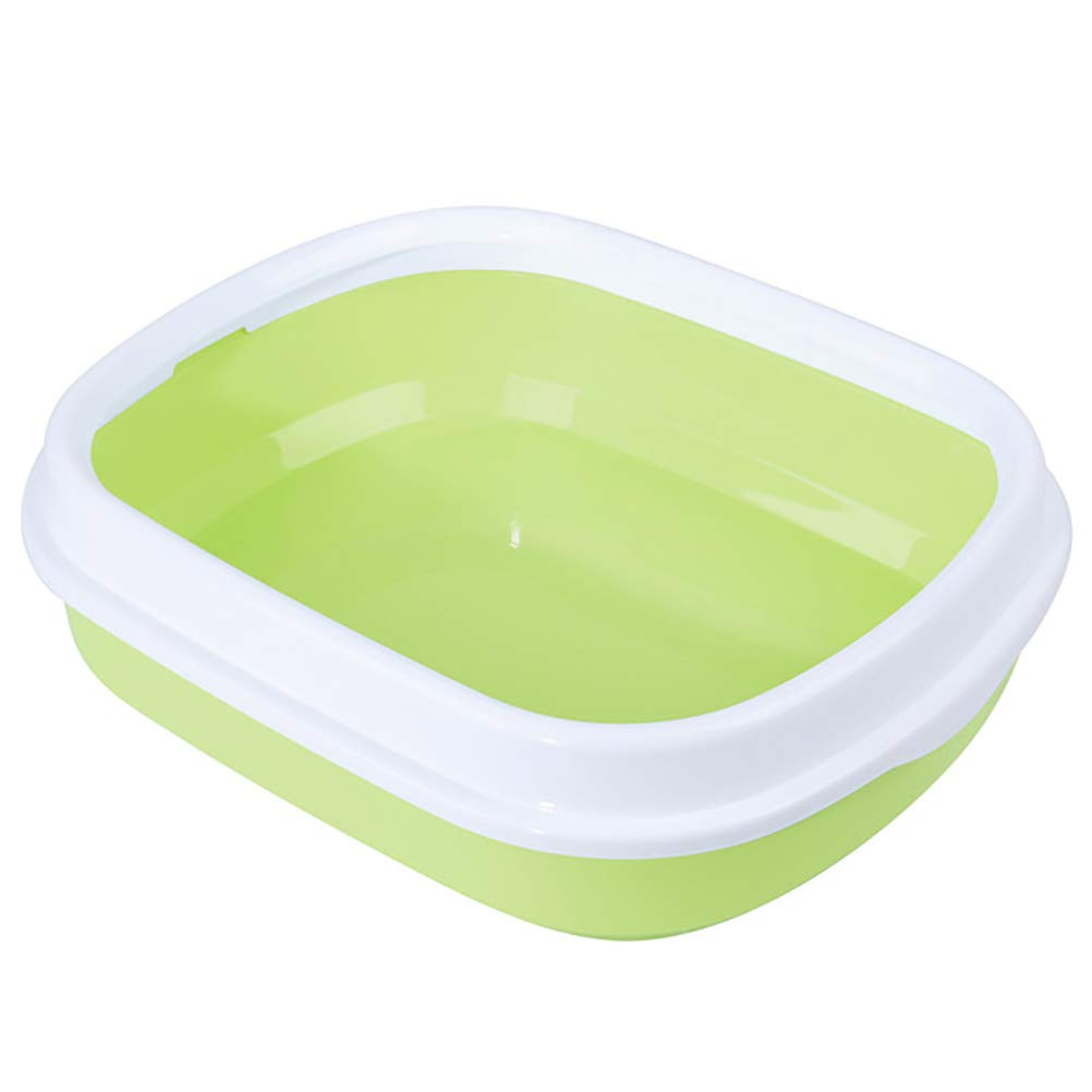 Green DAN Pureness Giant Cat Litter Pan,Clean Pet Cat Open Top Large Cats Litter Box with Shield and Scoop- 46 x 39 x 16 cm