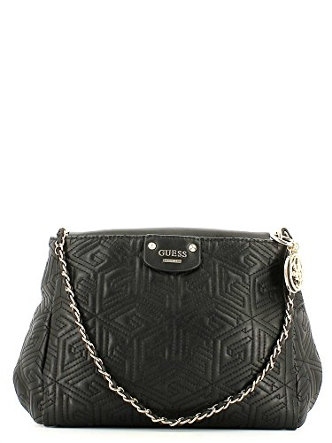 GUESS Quilted shoulder bag CUBE negro