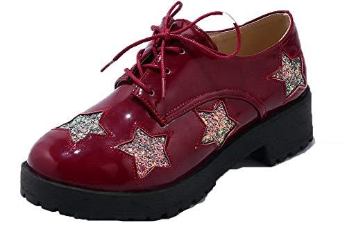 Allacciare Ballet GMMDB005885 Flats AgooLar Rosso Pelle Donna Chiusa di Maiale Punta ww671YqP