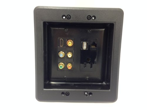 CERTICABLE CUSTOM DESIGNED BLACK DOUBLE GANG RECESSED WALL PLATE - 110V POWER OUTLET + HDMI + USB + CAT5E + 5 RCA'S Black Double Gang Grommet