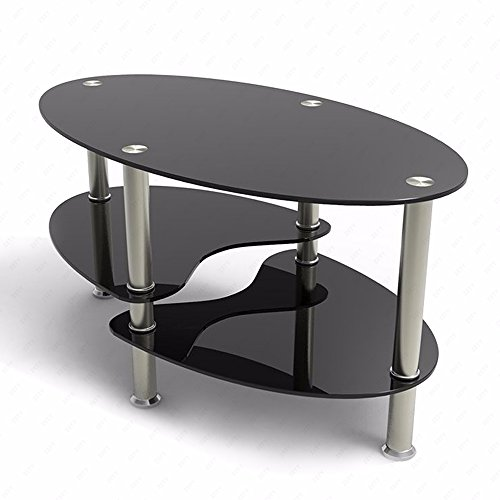 Discount suncoo glass coffee table chrome base 2 layers for 2 shelf glass coffee table