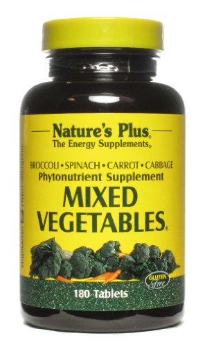 Natures Plus Mixed Vegetables - 1300 mg, 180 Vegetarian Tablets - Powerful Whole Foods Phytonutrient Supplement, Promotes Overall Health - Gluten Free - 60 Servings