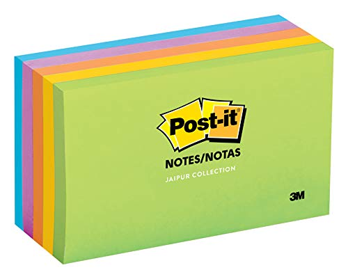 Post-it Notes, Jaipur Colors, Great for Reminders, 3 in. x 5 in, 5 Pads/Pack, 100 Sheets/Pad (655-5UC)
