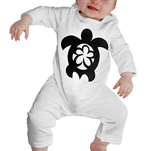 Hawaiian Sea Turtle Clipart Baby Boy Girl Long Sleeve Bodysuit Jumpsuit Onsies White