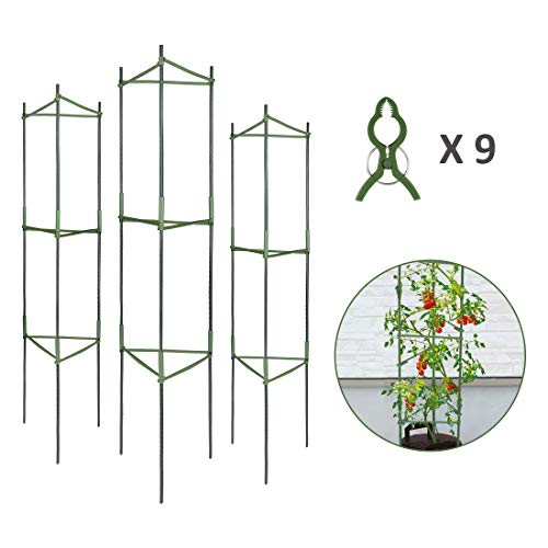 3-Pack Plant Cages Assembled Tomato Garden Cages Stakes Vegetable Trellis, w/ 9Pcs Clips, for Vertical Climbing Plants