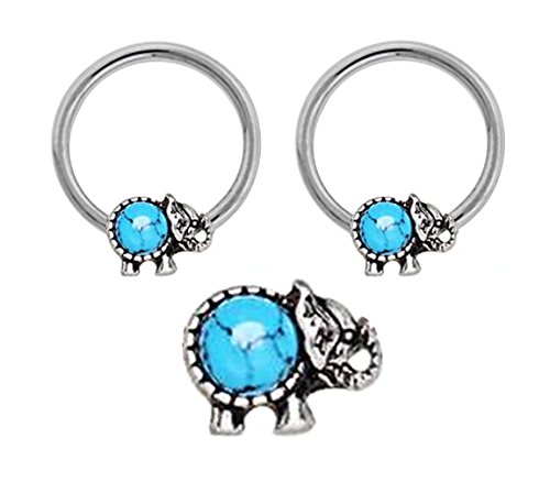 Pair of Turquoise Elephant Captive bead Ring lip, belly, nipple, septum, earring hoop 14g - Dangle Captive Bead Ring