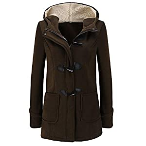 Red Ta Women Winter Long Sleeve Button Zip Up Top Jacket,Ladies Solid Color Casual Hooded Overcoat Outwear With Pocket