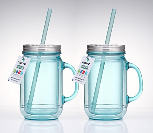 Cupture 2 Vintage Blue Mason Jar Tumbler Mug With Stainless Steel Lid and Straw - 20 oz (Vintage Blue Mason Jar)