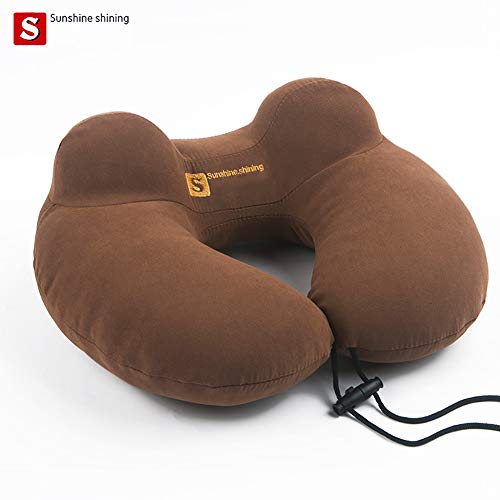 BMDHA Neck Massage Pillow Portable Travel U Type Pillow Protective Neck Pillow Multifunction Comfortable Cassia (Shoulder Deep Brown Bags)