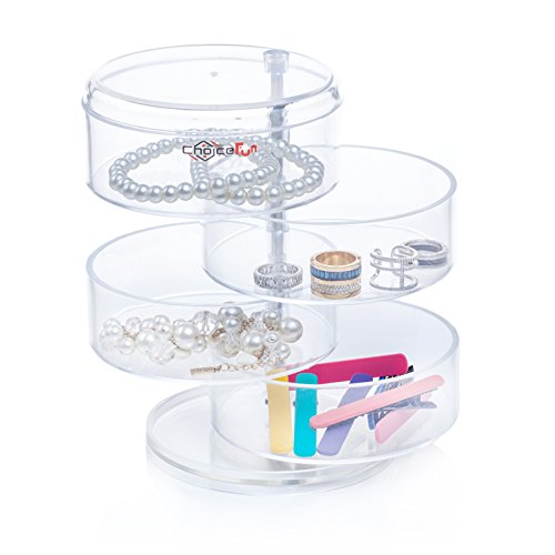 Choice Fun Acrylic Jewelry and Accessories Organizer 4 Spining Tiers Transparent QFJJSN-NSF-3472