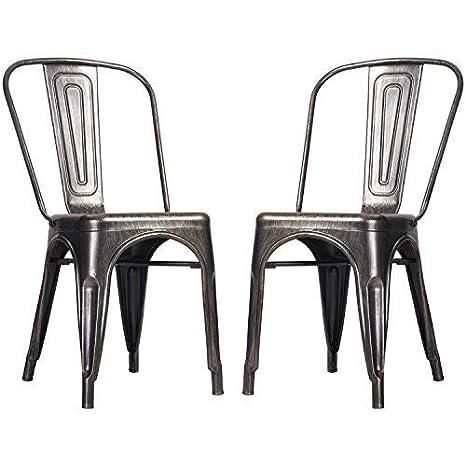 Pleasant Merax Pp036592Laa High Back Steel Stackable Vintage Metal Dining Chair Golden Black Home Remodeling Inspirations Basidirectenergyitoicom