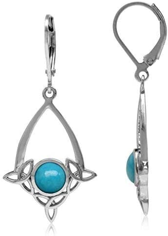 Silvershake Genuine Arizona American Turquoise 925 Sterling Silver Triquetra Celtic Knot Drop Dangle Leverback Earrings Jewelry for Women