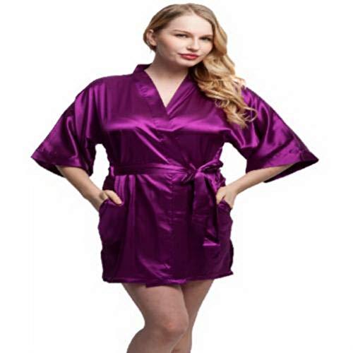 - Fashion Women Short Satin Kimono Robes Women Knee Length Sexy Lingerie Sleepwear Fashion Nightwear Bride Bridesmaid Robes L Purple