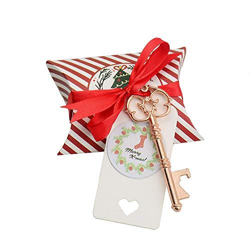 40pcs Party Favor Souvenir Gift Set Pillow Candy Box Vintage Skeleton Key Bottle Openers Thank You Gift Tag Ribbon (Rose Gold)]()