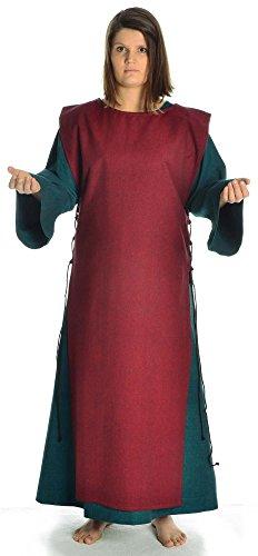 Rot Damen S Leinenstruktur Baumwolle Kleid grün Skapulier Grün Mittelalter Damenkleid mit mit HEMAD XL OxRwdYd
