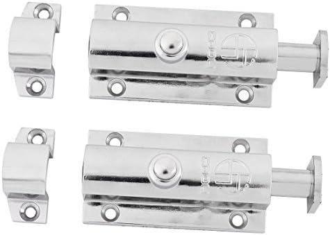 uxcell バレルボルト ステンレススチール製 クローゼット ドア ラッチ スライディング ロック バレルボルト 7.6cmの長さ 2個入り