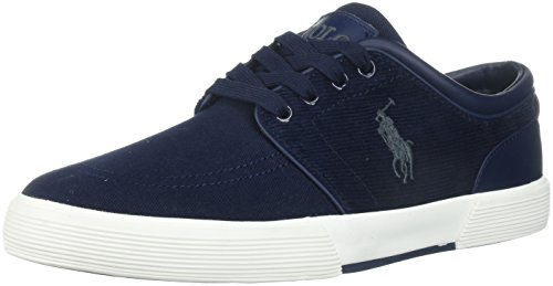 Polo Ralph Lauren Men's Faxon Low-Canvas/Corduroy Sneaker, Navy, 10.5 D - Navy Blue Lauren Polo Ralph