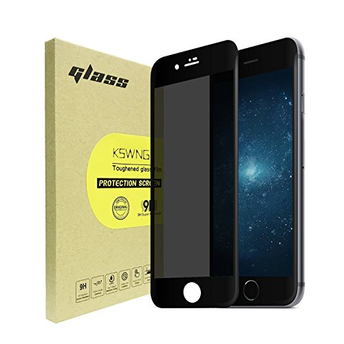 Privacy Screen Protector for iPhone 8 Plus / 7 Plus [Full Screen], KSWNG Screen Protector Anti-Spy Tempered Glass Screen [DoubleDefence Technology] 9H Premium Anti-Scratch/Fingerprint