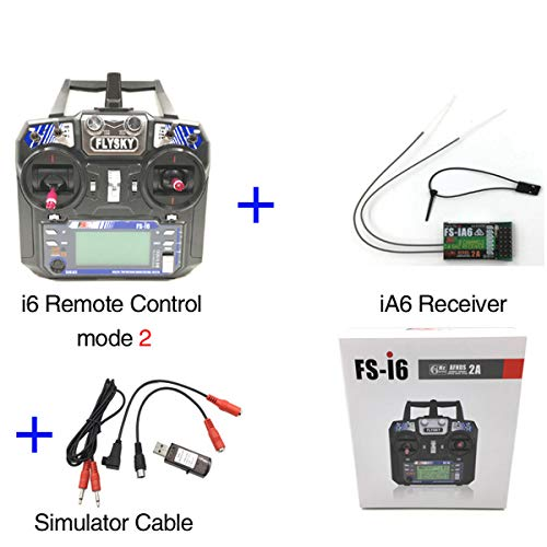 Flysky FS-i6 AFHDS 6CH 2.4GHz Radio System RC Transmitter Controller with FS-iA6 Receiver 22in1 RC USB Flight Simulator Cables for RC Helicopter Plane Quadcopter Glide(Model_2)