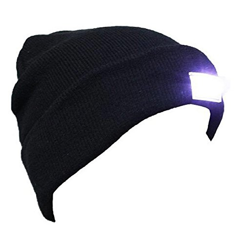 Minalo Ultra Bright 5 LED Beanie Cap/Hat Hands Free Unisex Lighted Stocking Cap 12000mcd of Perfect Hands Free Flashlight For Hunting Camping, Grilling, Jogging, Handyman Working