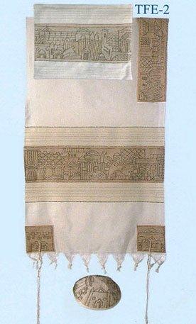 - Yair Emanuel Hand Embroidered Jerusalem in Silver Tallit Prayer Shawl Set - Size: 21