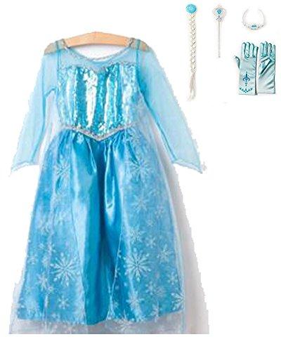 [CXFashion Girl's Birthday Dress-up Costume Tiara, Wand, Gloves Wig Set (4-5y)] (Fairy Godmother Costume Toddler)